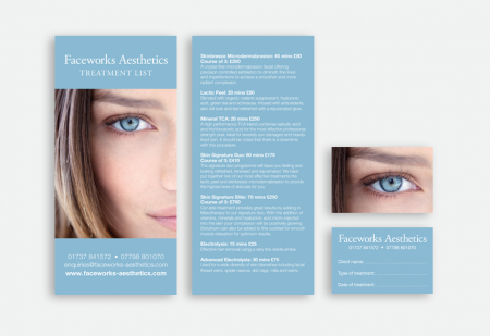 Faceworks Aesthetics Price list & Appointment card by Pick Me! Design © 2017 Sarah Godsell, Graphic Designer, Surrey