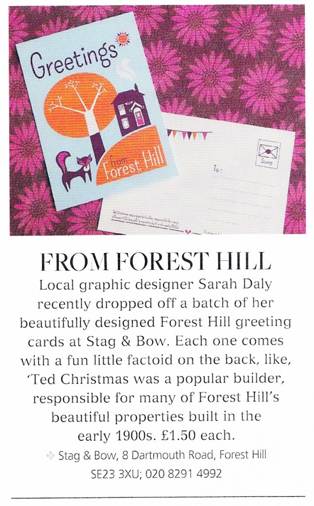 Forest Hill Postcard designed by Sarah Godsell of Pick Me! Design featured in London's 'Living South' magazine.
