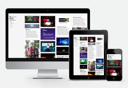 Josh Riordan responsive website by Pick Me! Design © 2016 Sarah Godsell, Graphic Designer, Surrey