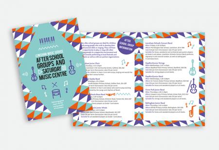 Lewisham Music Service folded leaflet by Pick Me! Design © 2015 Sarah Godsell, Graphic Designer, Surrey