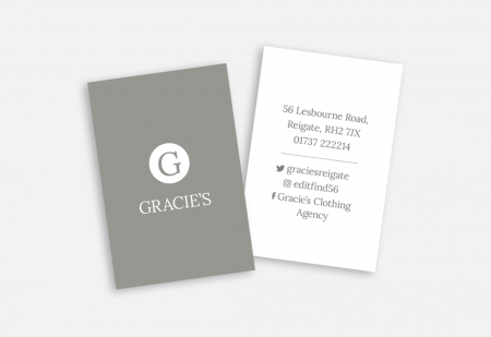 Gracie's Branding & Business card by Pick Me! Design © 2016 Sarah Godsell, Graphic Designer, Surrey