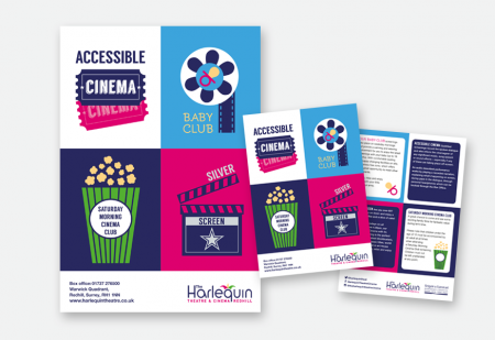 Harlequin Accessible Screening Poster & Flyer by Pick Me! Design © 2016 Sarah Godsell, Graphic Designer, Surrey